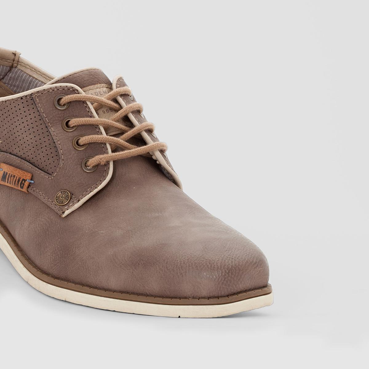 Ботинки-дерби на шнуровкеБотинки-дерби на шнуровке, Mustang . Верх  : синтетический материал  Подкладка  : без подкладки Стелька  : хлопок и полиэстер Подошва  : термопластичная резина. Застежка  : на шнуровке. Если вы хотите покорить большие города или отдаленные уголки Земли, вам нужна отличная обувь с характером! Прекрасные ботинки-дерби Mustang в аутентичном строгом стиле помогут вам в этом!<br><br>Цвет: серо-коричневый<br>Размер: 43