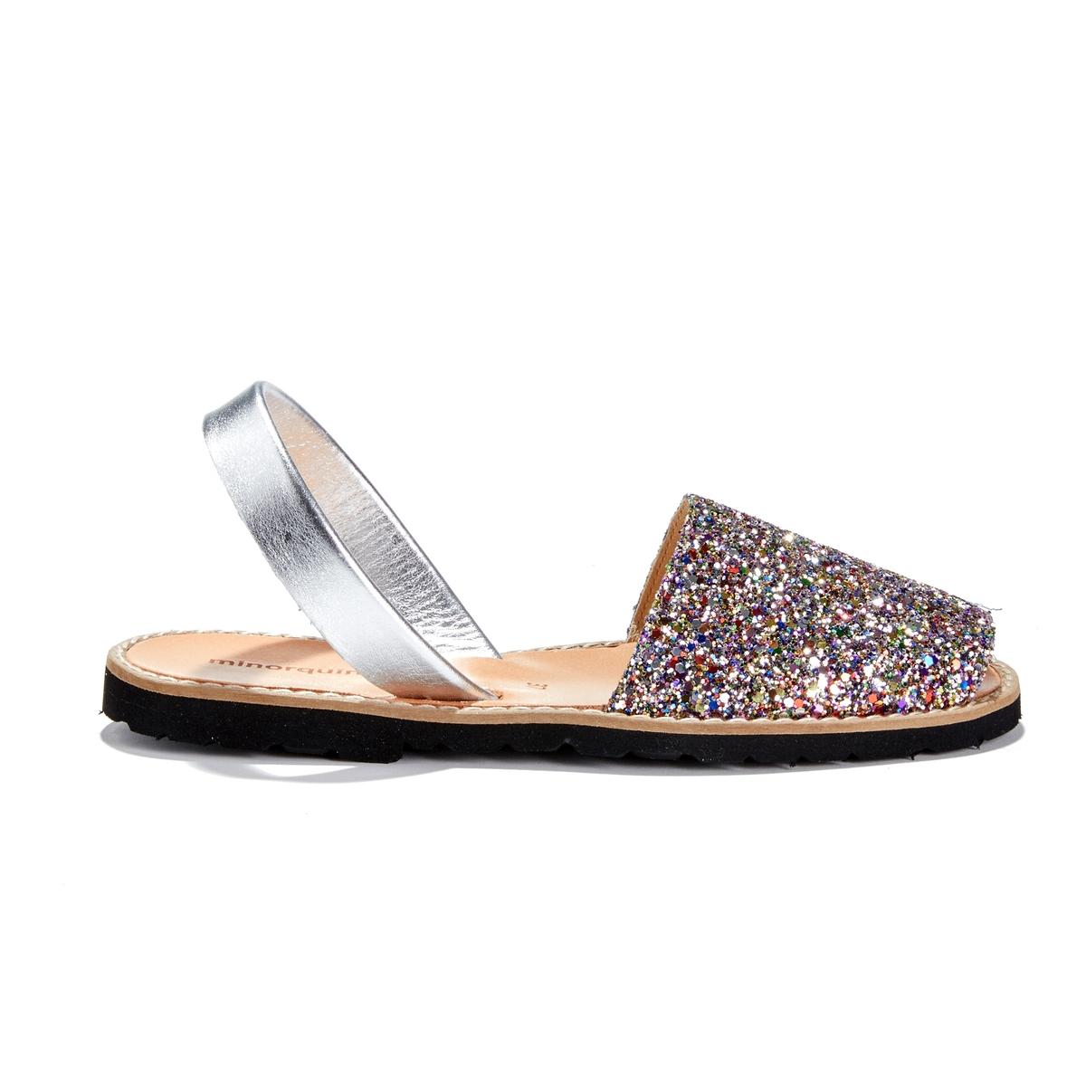 Босоножки с блестками на плоском каблуке AVARCA PAILLETTES