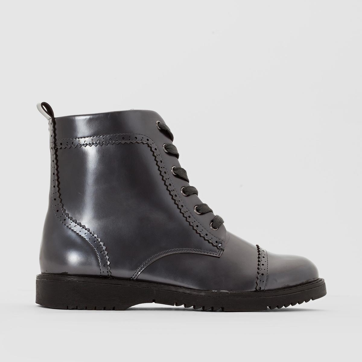 Ботинки с лаковой отделкой на широкую стопу 38-45