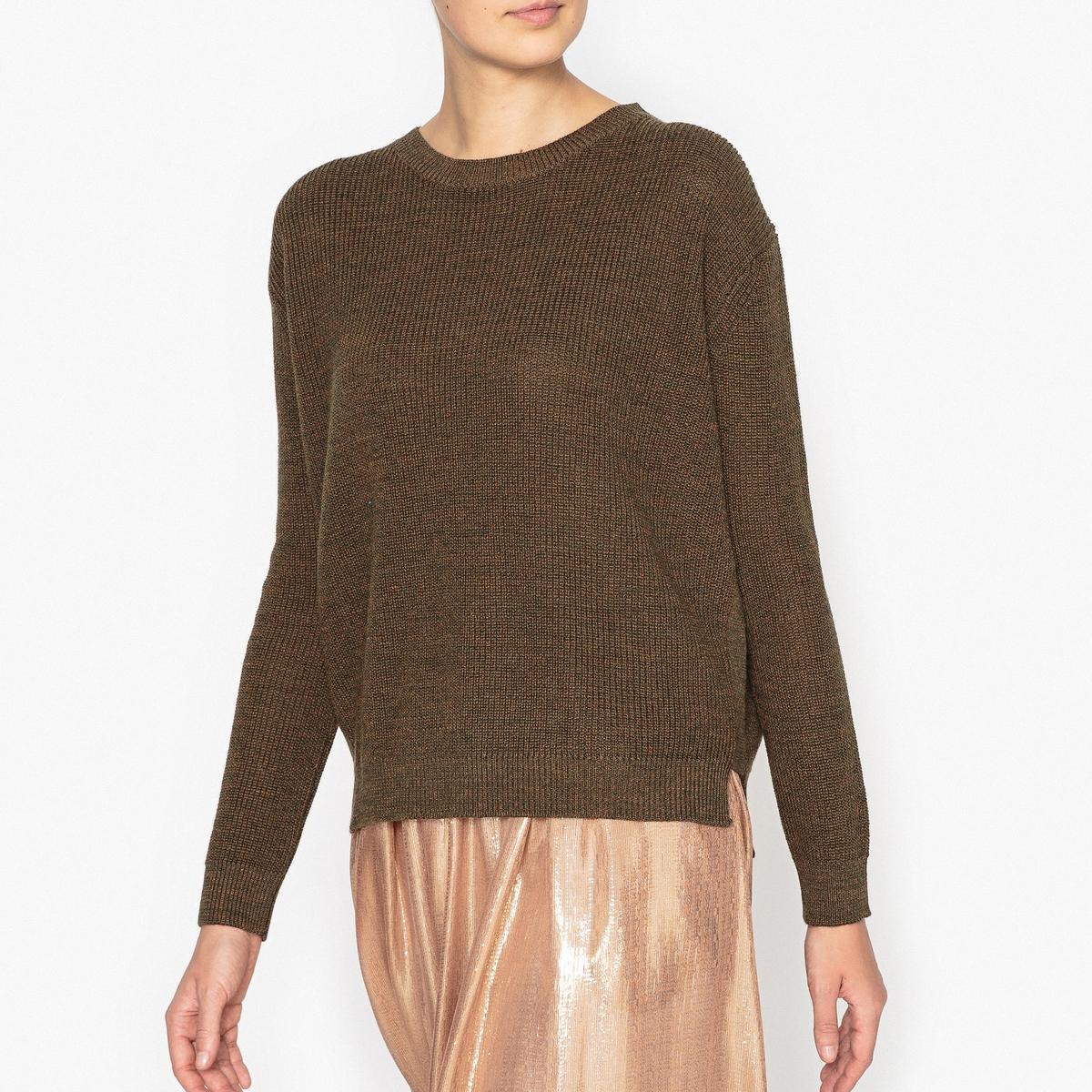 Пуловер из меланжа шерсти и льна