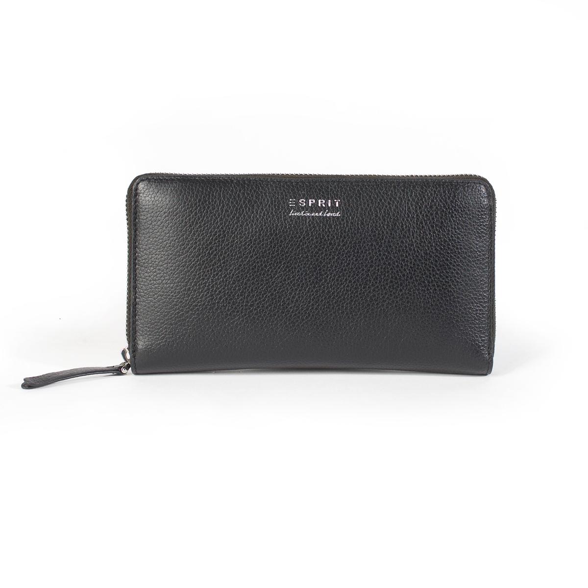 Бумажник на молнииКожаный бумажник Esprit, красивая и утонченная модель идеальна подходит под сумку Esprit ! Состав и описание :  •  Материал : верх 100% бычья кожа                       подкладка 100% бычья кожа  •  Марка : Esprit •  Модель : Milti  •  Размер :  9,5 x 19 см  •  Застежка : молния Внутренний карман на молнииВнутренний кармашек<br><br>Цвет: черный