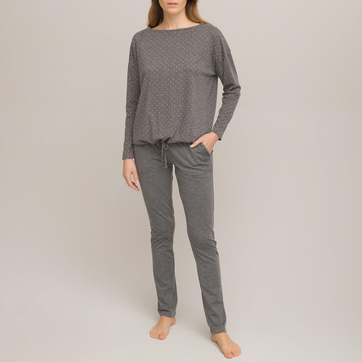Пижама LaRedoute Из трикотажа с длинными рукавами 46/48 (FR) - 52/54 (RUS) черный футболка laredoute с длинными рукавами из хлопкового джерси xxl серый
