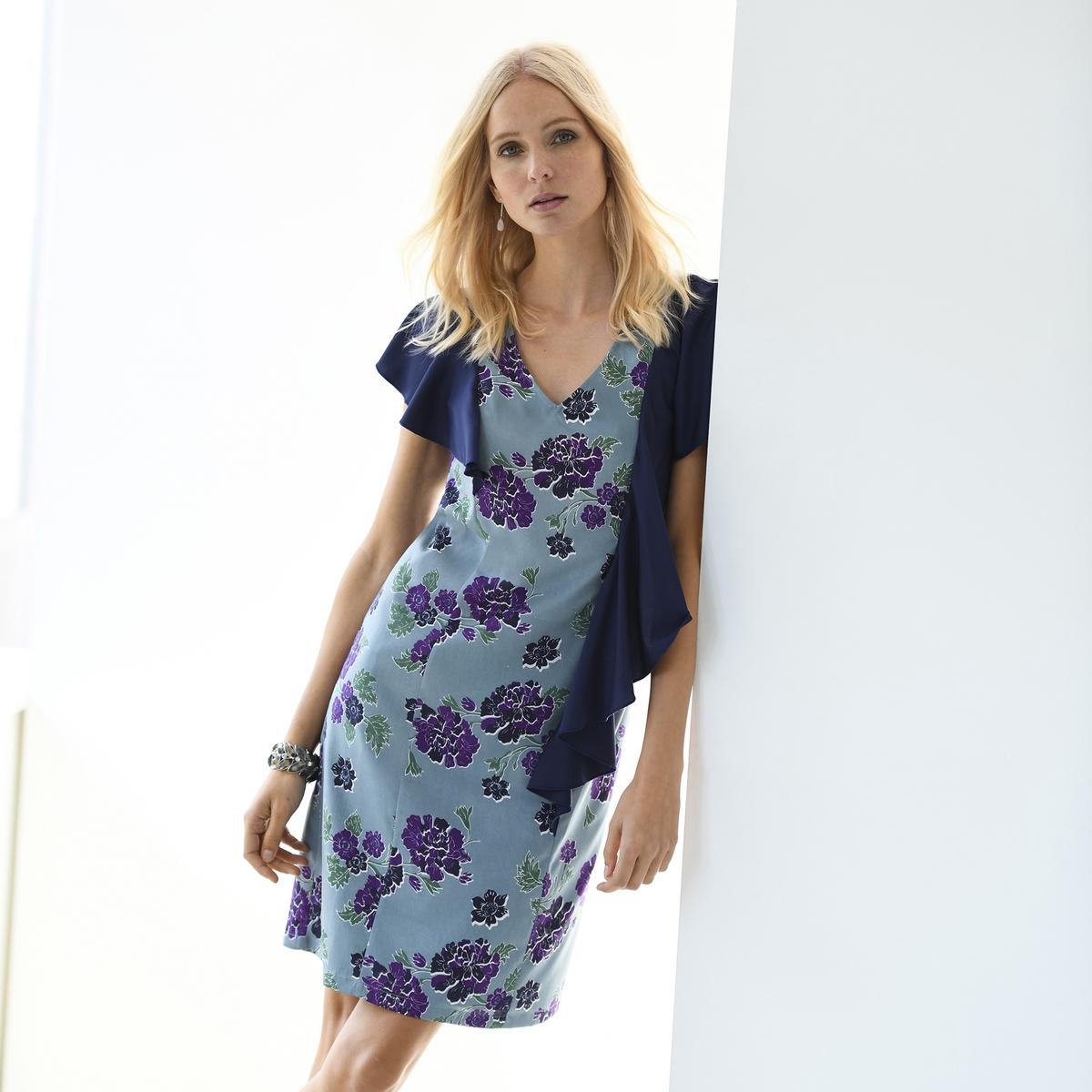 Imagen principal de producto de Vestido recto con crepé estampado y manga corta - Anne weyburn