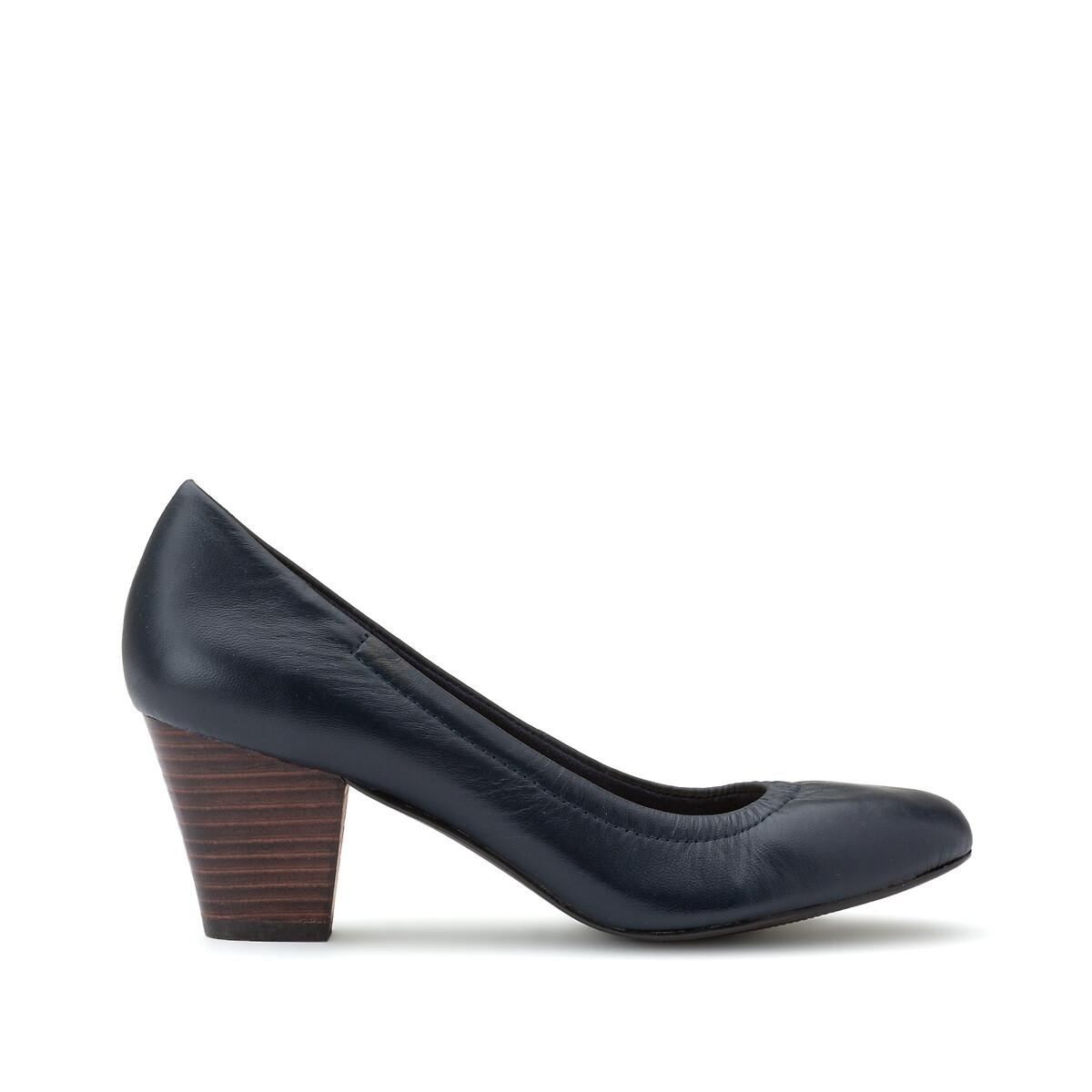 Туфли LaRedoute Кожаные на среднем каблуке 40 синий