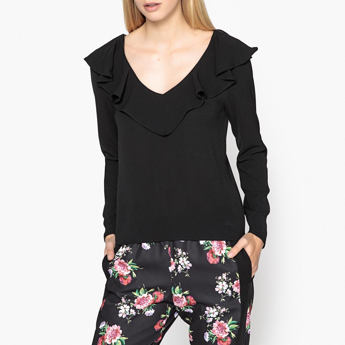 Блузка с V-образным вырезом и длинными рукавами