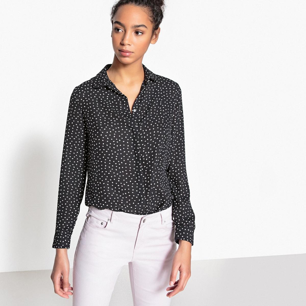 Блузка с воротником-поло и рисунком в горошек