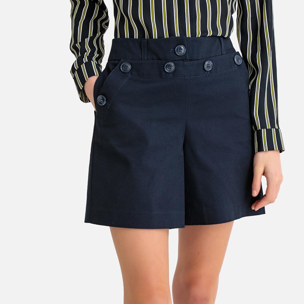 Шорты La Redoute С завышенной талией 34 (FR) - 40 (RUS) синий юбка la redoute короткая с завышенной талией и цветочным рисунком xs зеленый