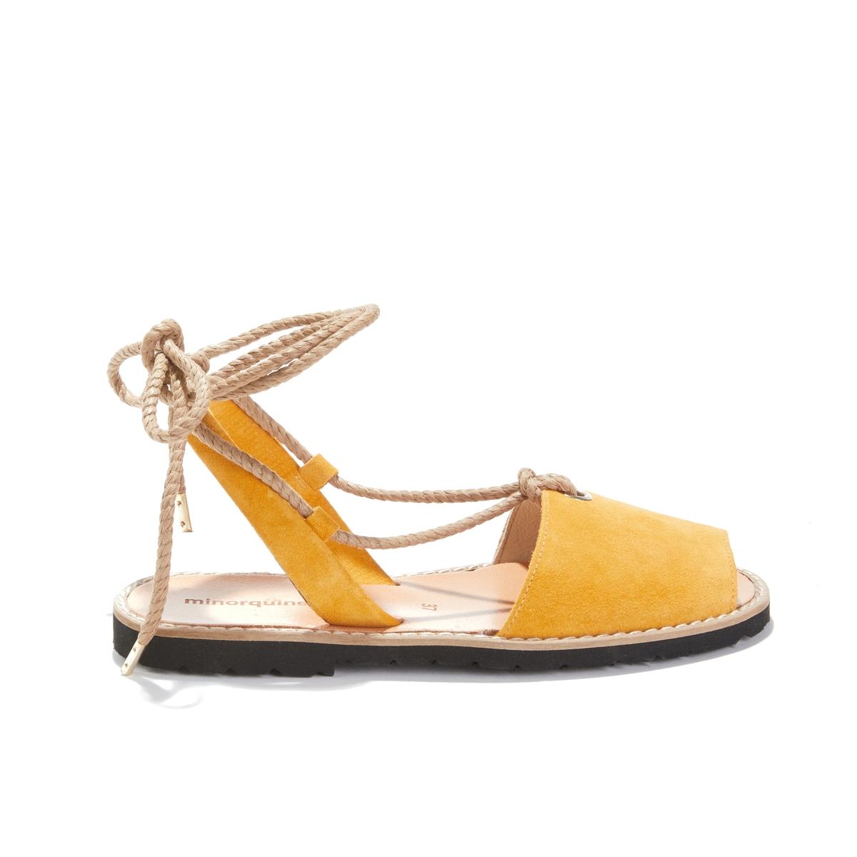Босоножки кожаные на плоском каблуке Avarca Formentera Safran