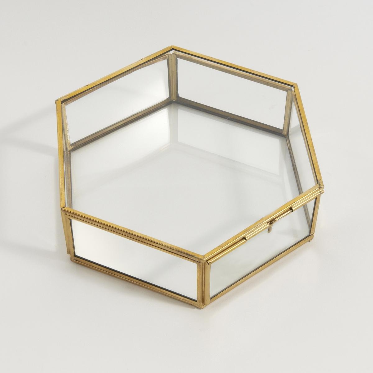 Коробка шестиугольная из стекла и латуни Uyova