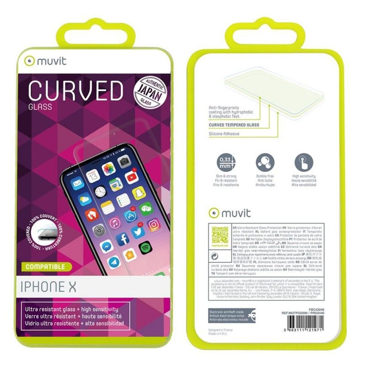 Film iPhone X protection écran verre trempé incurvé - Muvit