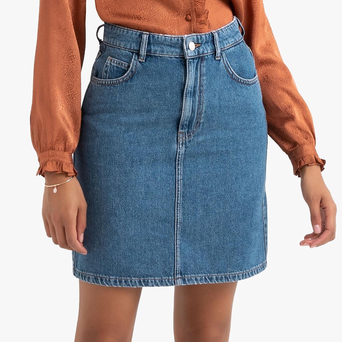 Юбка LaRedoute Короткая из джинсовой ткани 46 (FR) - 52 (RUS) синий