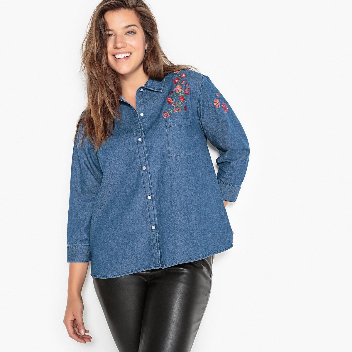 Рубашка из денима с вышивкой рубашка с вышивкой