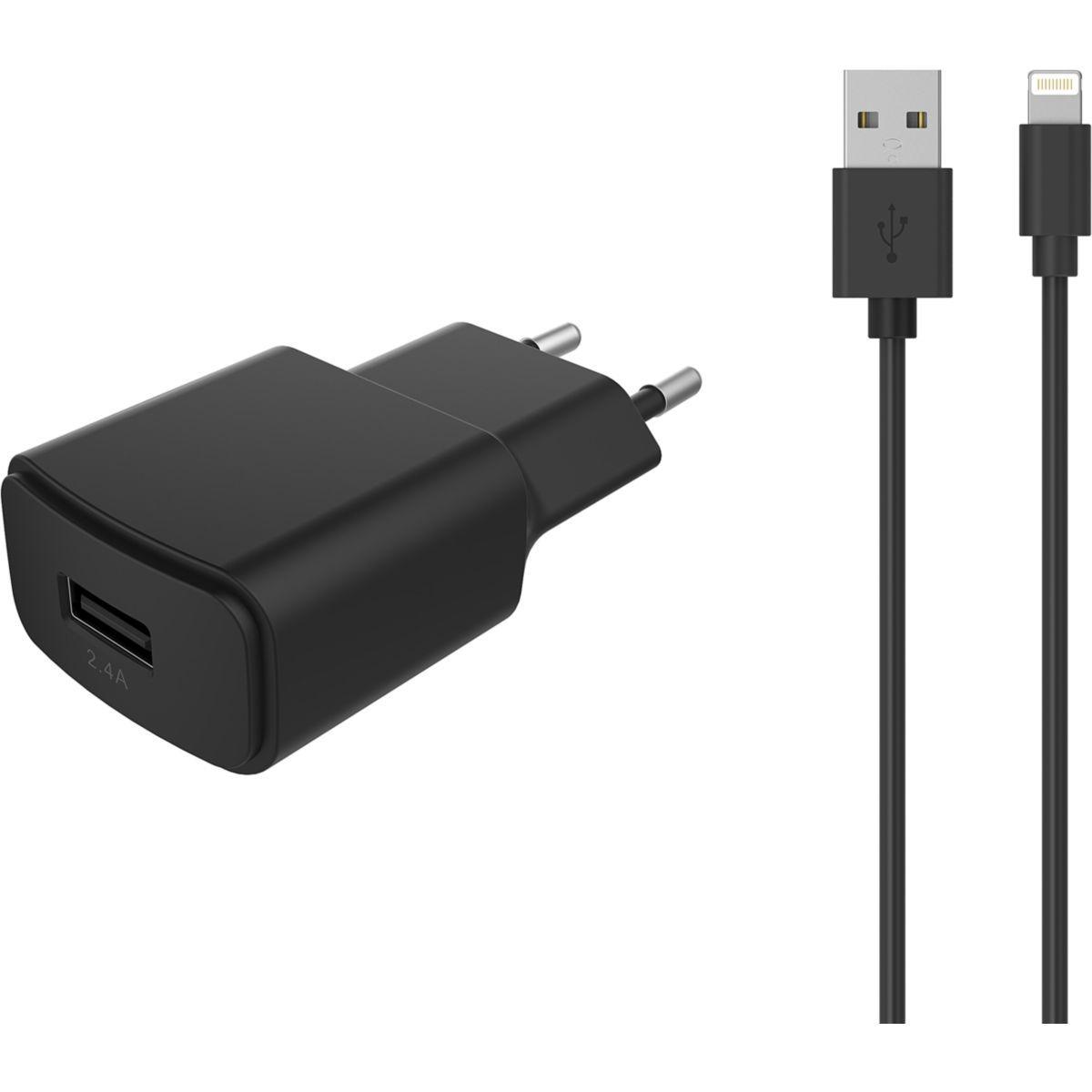 Chargeur secteur ESSENTIELB USB 2,4A + Cable lightning noir