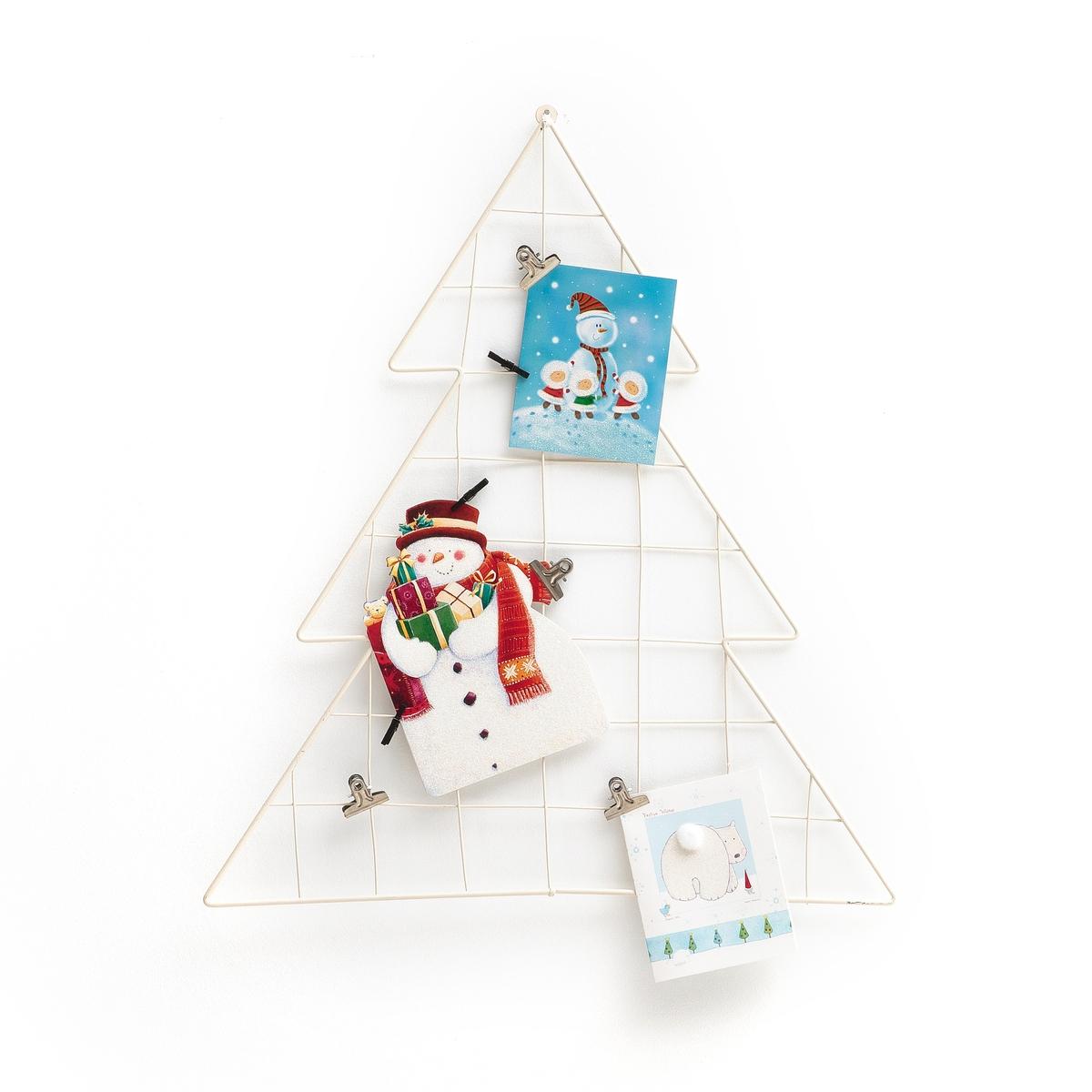 Рамка в форме елки, EPINOОписание:Рамка в форме елки, EPINO. Повесьте карточки с желаниями ваших друзей и родственников или новогодние украшения.Характеристики :Материал : из металла, покрытого эпоксидной краской4 металлических зажима + 4 деревянных зажима в комплектеРазмеры : В.50 x 45 x 1,5 см<br><br>Цвет: белый,черный