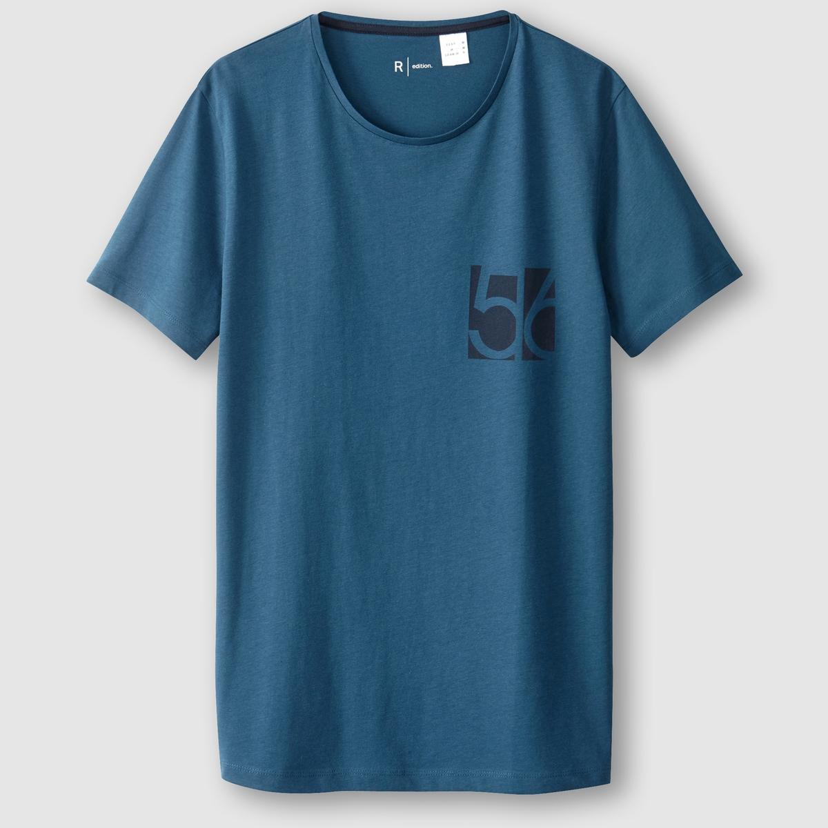 Футболка с круглым вырезомСостав и описание  :Материал : 100% хлопок Марка :      R ?ditionУходМашинная стирка при 30 °С<br><br>Цвет: сине-зеленый<br>Размер: XXL.XL