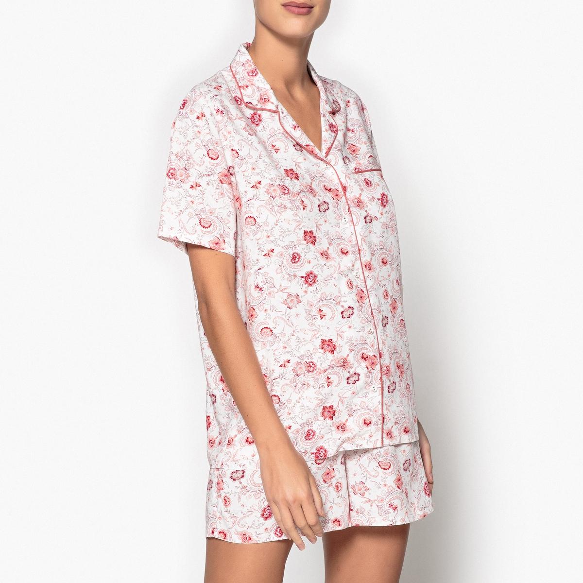 Пижама: шорты + рубашкаОписание:Верх пижамы в виде рубашки с красивым цветочным рисунком. Детали•  Прямой покрой. •  Короткие рукава. •  Низ с эластичным поясом. •  Длина : верх: 68,30 см, по внутреннему шву: 10,5 cмСостав и уход •  Материал : 100% вискоза. •  Машинная стирка при 30° с вещами схожих цветов. •  Стирать и гладить с изнаночной стороны. •  Машинная сушка запрещена. •  Гладить при низкой температуре.<br><br>Цвет: набивной рисунок