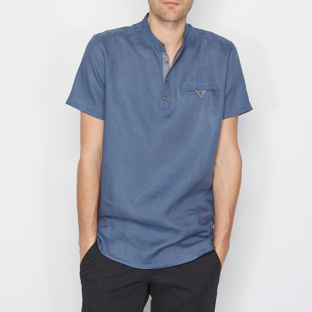 SOFT GREY Рубашка из 100% льна, свободный покрой, короткие рукава