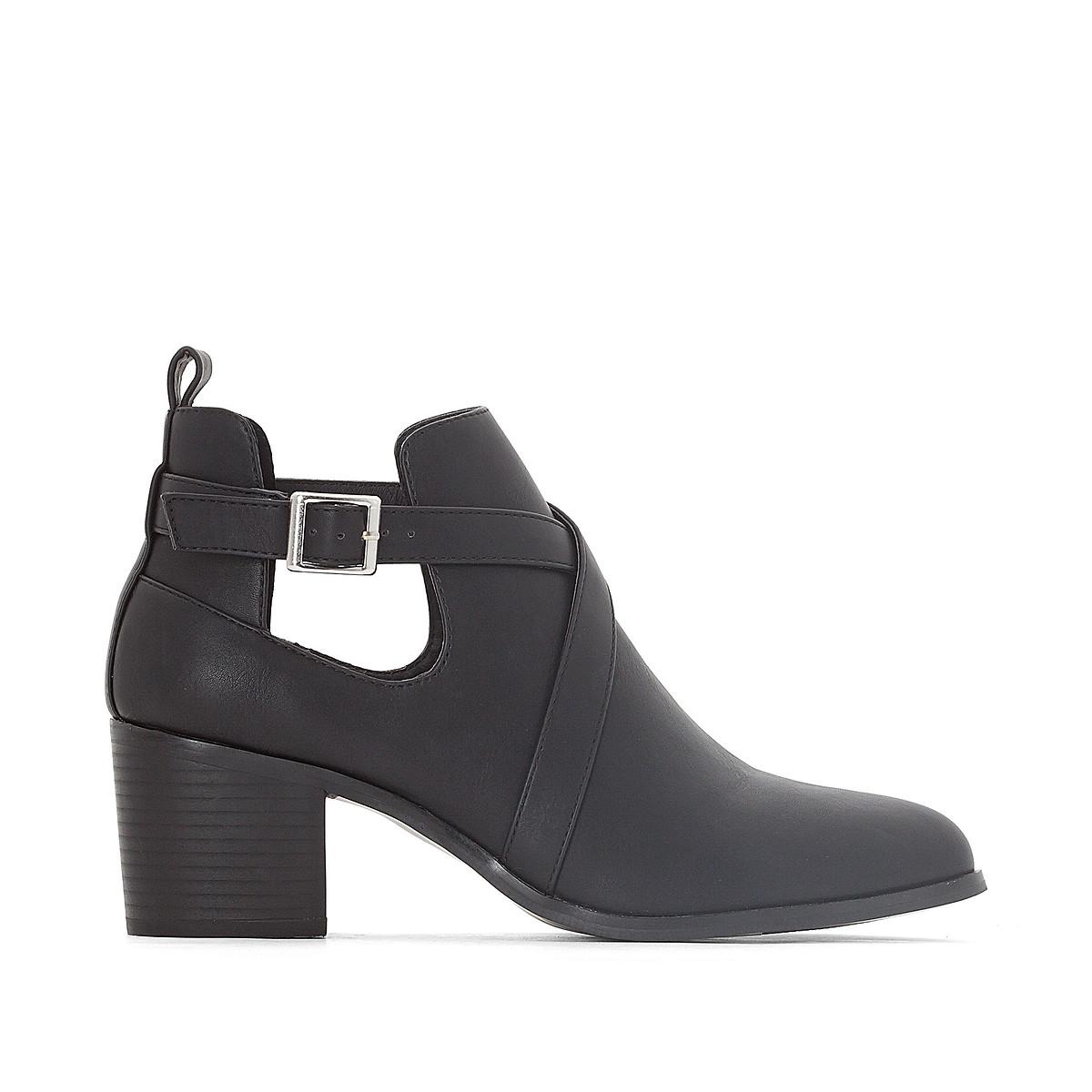 Ботинки LaRedoute Кат-аут на каблуке для широкой стопы размеры 38-45 44 черный балетки laredoute на плоском каблуке для широкой стопы 38 45 43 бежевый
