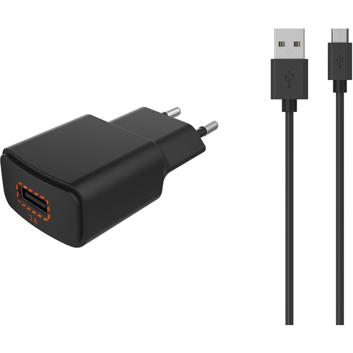 Chargeur secteur ESSENTIELB quick charge 3.0 + Cable Micro-USB noir