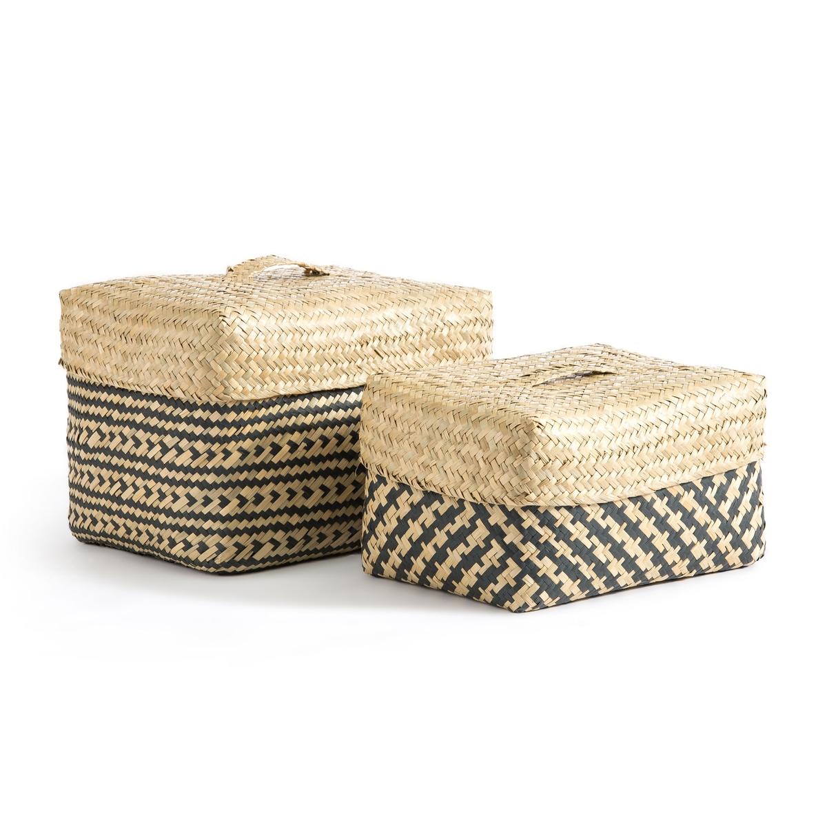 Комплект из 2 корзин, Kotak LaRedoute La Redoute единый размер бежевый пуф la redoute из шерсти carito единый размер серый