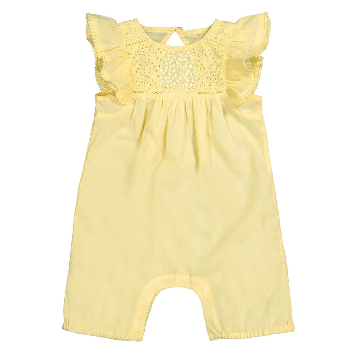 Комбинезон La Redoute С вышивкой и рукавами с воланами мес 3 года - 94 см желтый шорты с вышивкой 1 мес 3 года