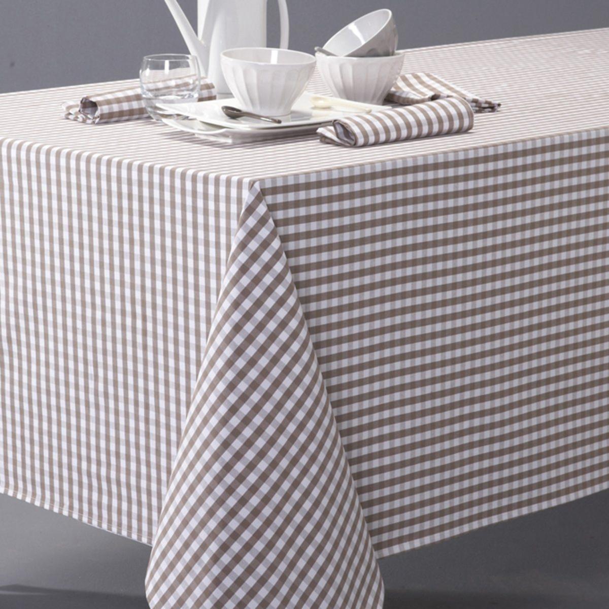 Скатерть в клетку виши, 100% хлопок с окрашенными волокнами, GARDEN PARTYВсегда модный рисунок в деревенском стиле, 3 цвета, для повседневного использования !  Машинная стирка при 40 °С.Текстиль для столовой, 100% хлопок с окрашенными волокнами : гарантия качества и долговечности.<br><br>Цвет: серо-коричневый,серый/ белый<br>Размер: 150 cm