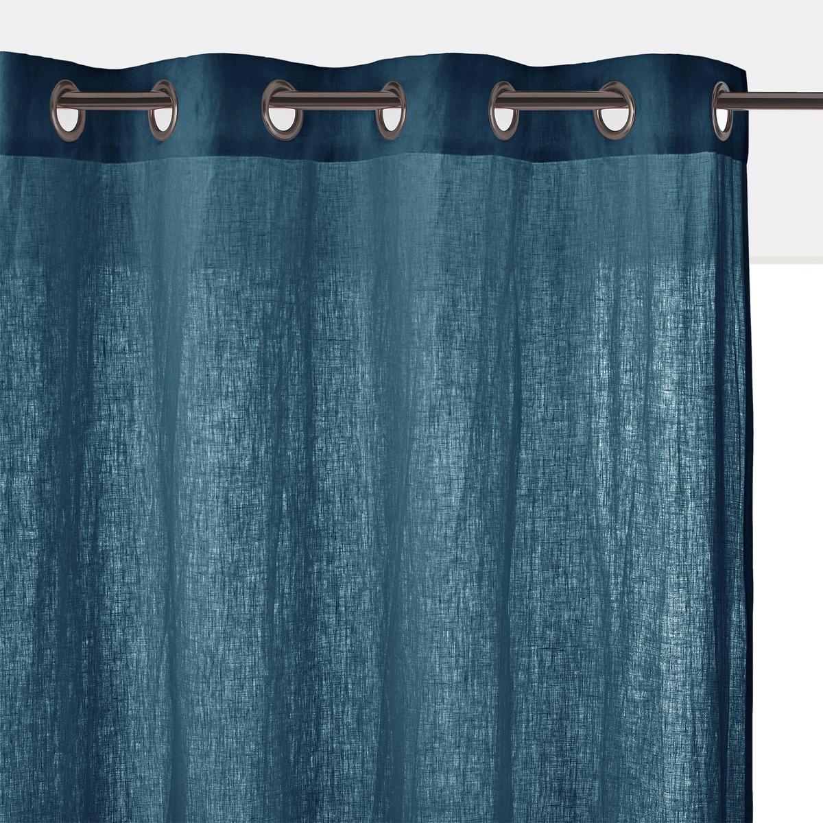 Штора LaRedoute С люверсами из осветленного льна ONEGA 260 x 135 см синий