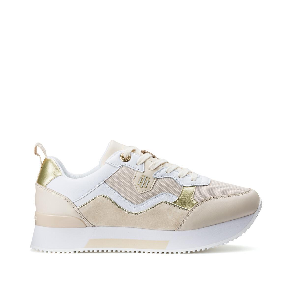 Tommy Hilfiger Material Mix Active City sneakers beige/wit/goud online kopen