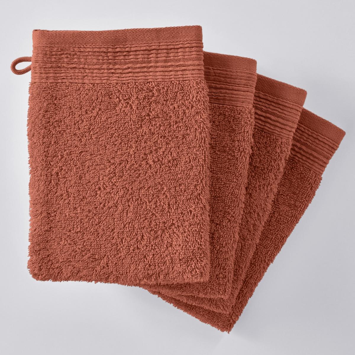 Банные рукавички однотонные махровые из био-хлопка (4 пары)