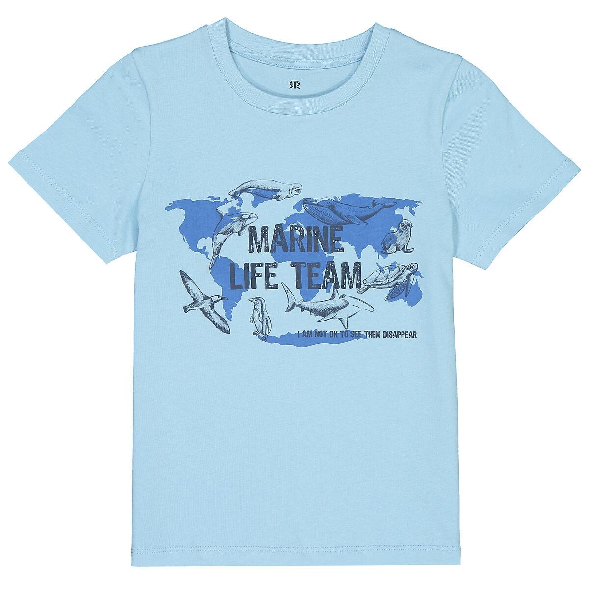 Фото - Футболка La Redoute С круглым вырезом и рисунком 3-12 лет 3 года - 94 см синий комбинезон la redoute из вискозы 3 года 94 см синий