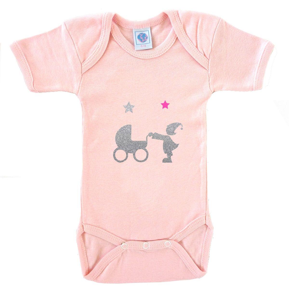 Body bébé en coton manches courtes rose