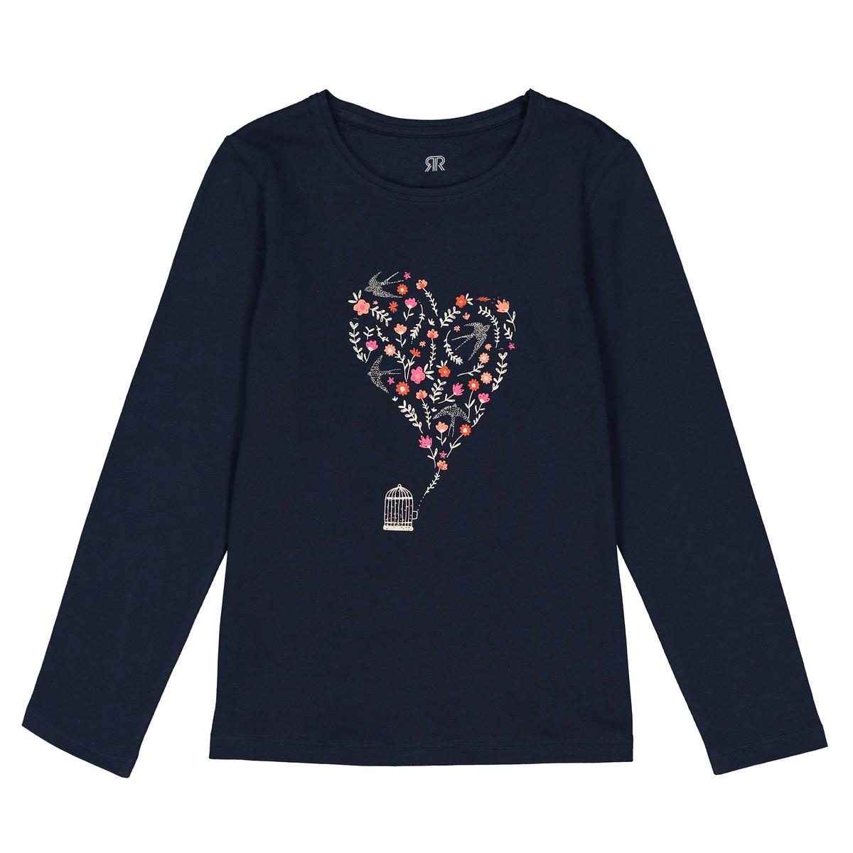 Футболка с длинными рукавами с завязками и рисунком сердце, 3-12 лет