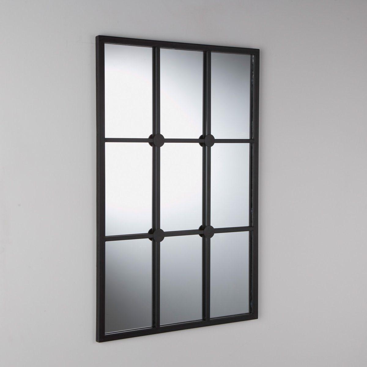 Зеркало-имитация окна LenaigХарактеристики зеркала Lenaig:  Окрашенный металл, отделка черного матового цвета.                    Задник из МДФ черного цвета.                    2 настенных крепления, винты и крепления продаются отдельно.                                                                                      Найдите всю коллекцию Alaria на сайте laredoute. ru.                                           Размеры зеркала Lenaig:                                          Ширина: 60 см.       Высота: 90 см.                                         Размеры и вес в упаковке:   Ш.68 x В.7,5 x Г.98 см.  10,3 кг.<br><br>Цвет: черный