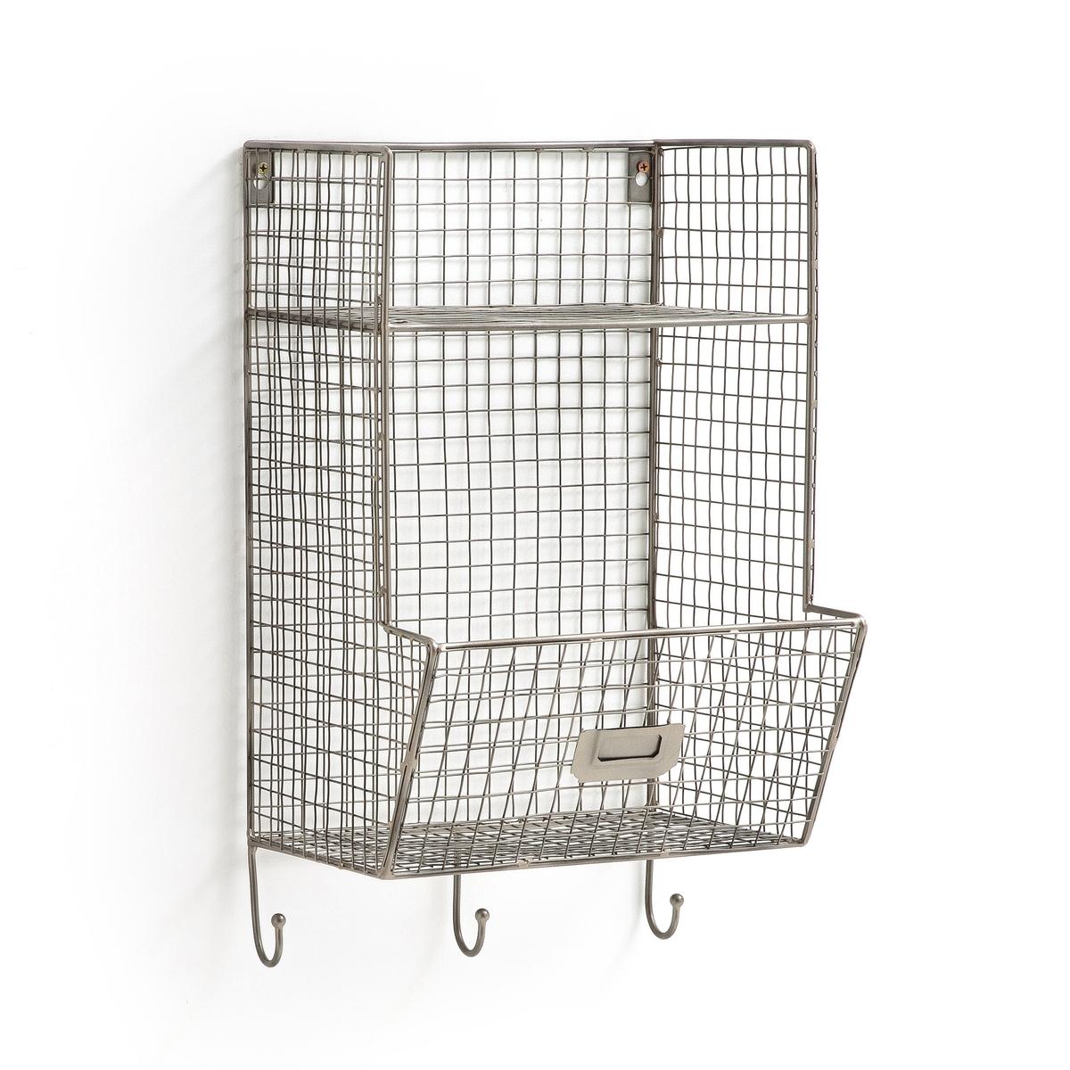 Этажерка La Redoute Настенная из решетчатого металлаAREGLO единый размер серый этажерка из решетчатого металла и массива мангового дереваareglo