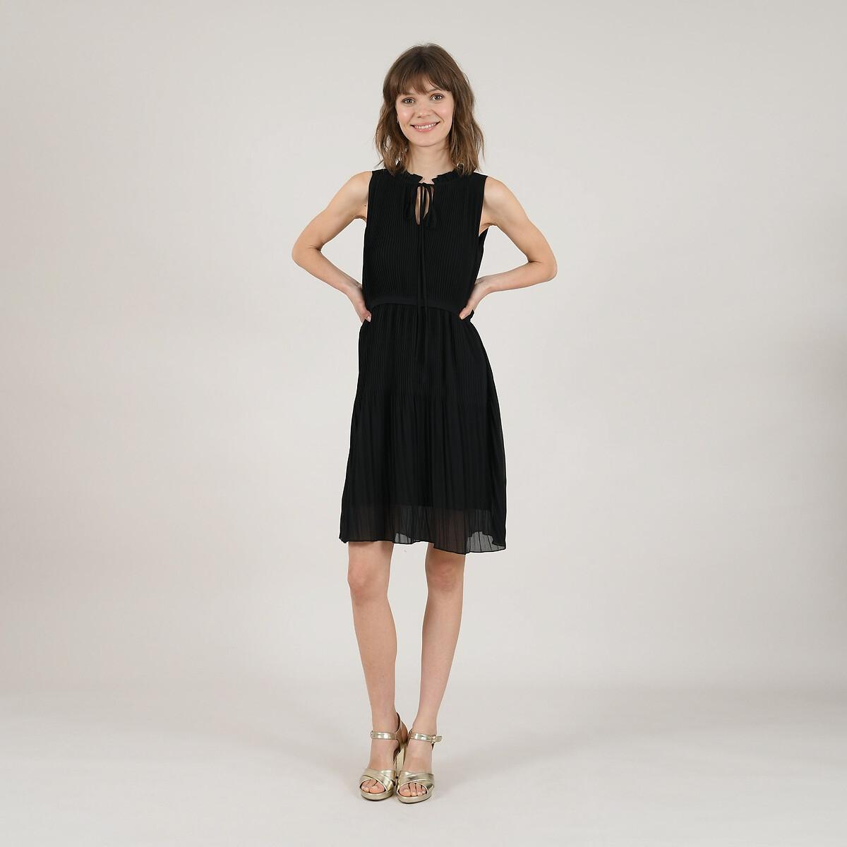 Платье La Redoute Короткое плиссированное с воротником-стойкой с завязками L черный стильное офисное платье с воротником стойкой dioni