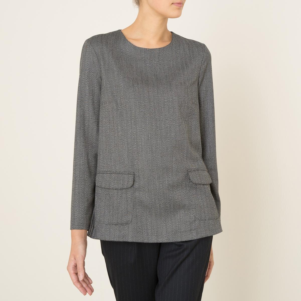 Блузка PASTAБлузка объемная TOUPY - модель PASTA из ткани с зигзагообразным рисунком. Круглый вырез. Длинные рукава. Карманы с клапаном спереди. Вырез-капля на пуговице сзади . Состав &amp; Детали         Материал : 63 % полиэстер, 32% вискоза, 5% эластанМарка : TOUPY<br><br>Цвет: серый