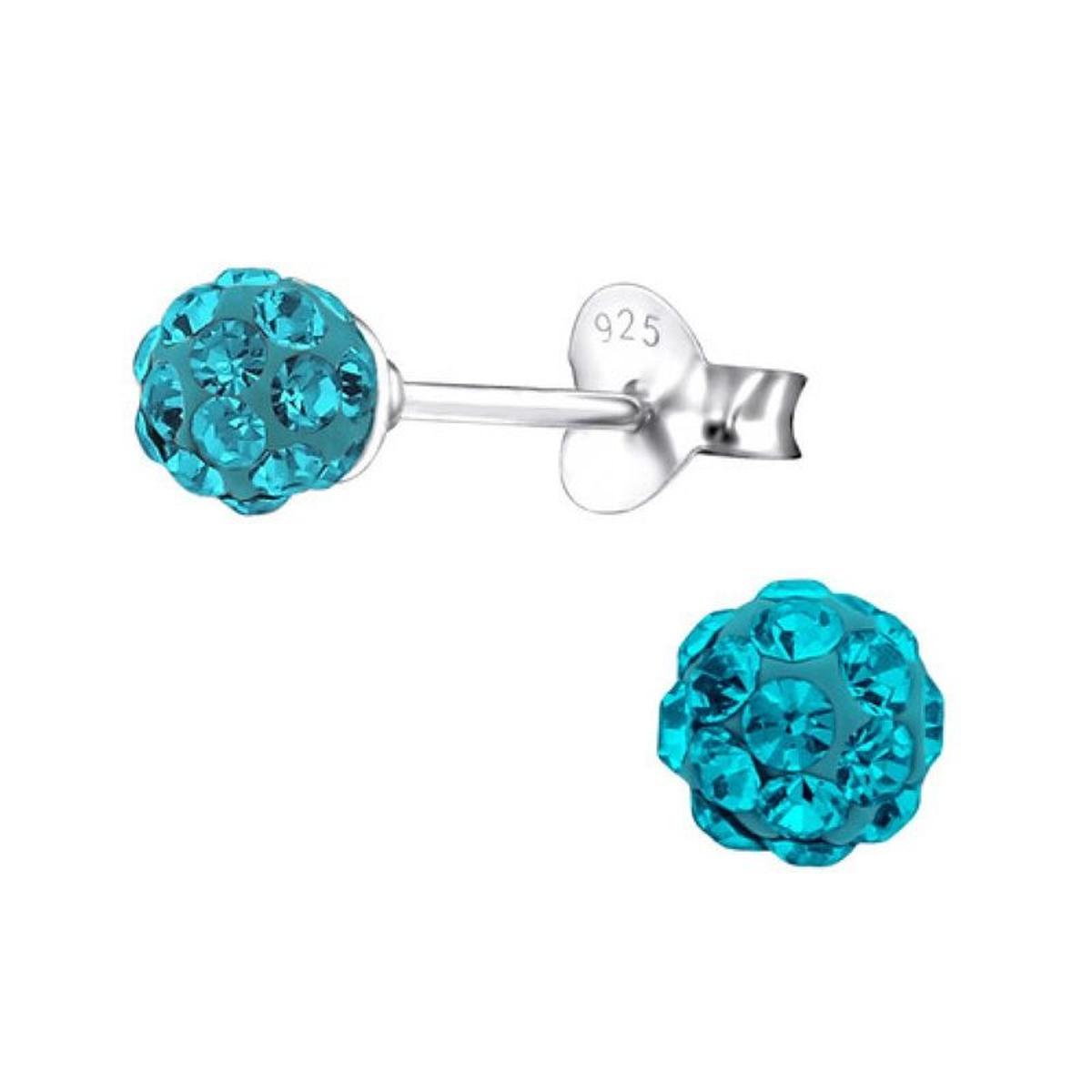 Boucles d'oreilles Boule 4 mm Strass Bleu Argent 925