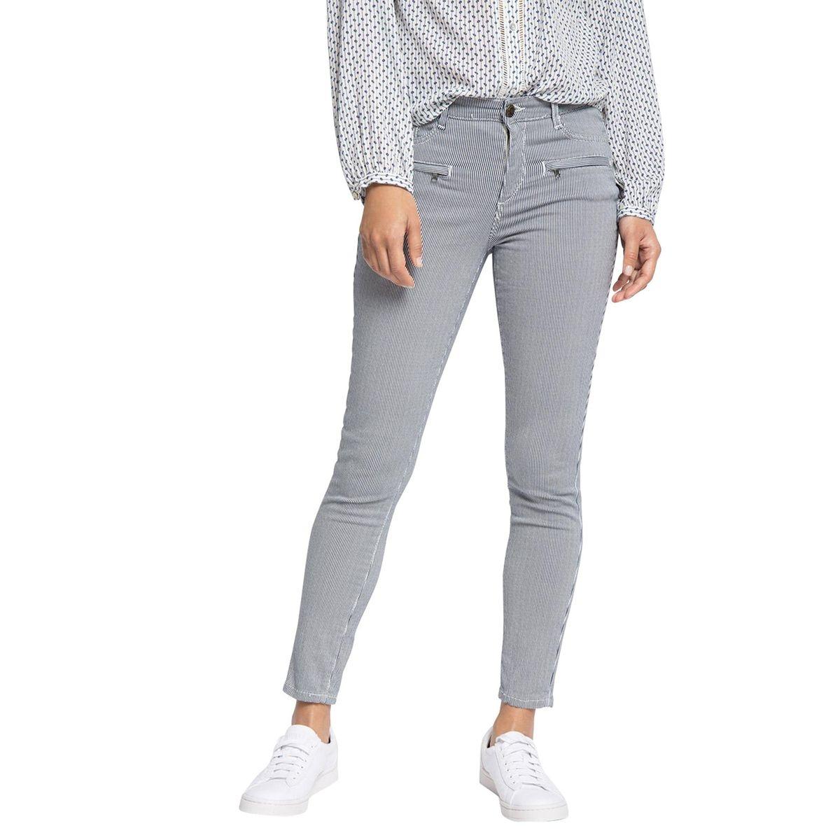 Pantalon rayé 5 poches, longueur 28