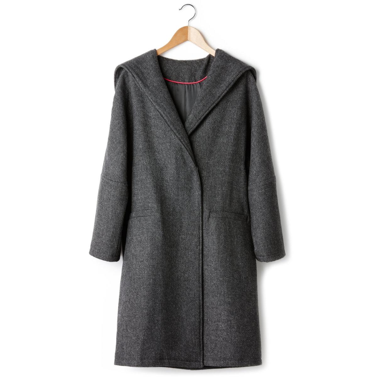 Пальто-кокон с капюшономДлинное пальто-кокон с капюшоном. 2 кармана спереди. Застежка на пуговицу и кнопку.  57% полиэстера, 38% шерсти, 5% других волокон, подкладка: 100% полиэстера. Длина 90 см.<br><br>Цвет: черный<br>Размер: 34 (FR) - 40 (RUS).38 (FR) - 44 (RUS)