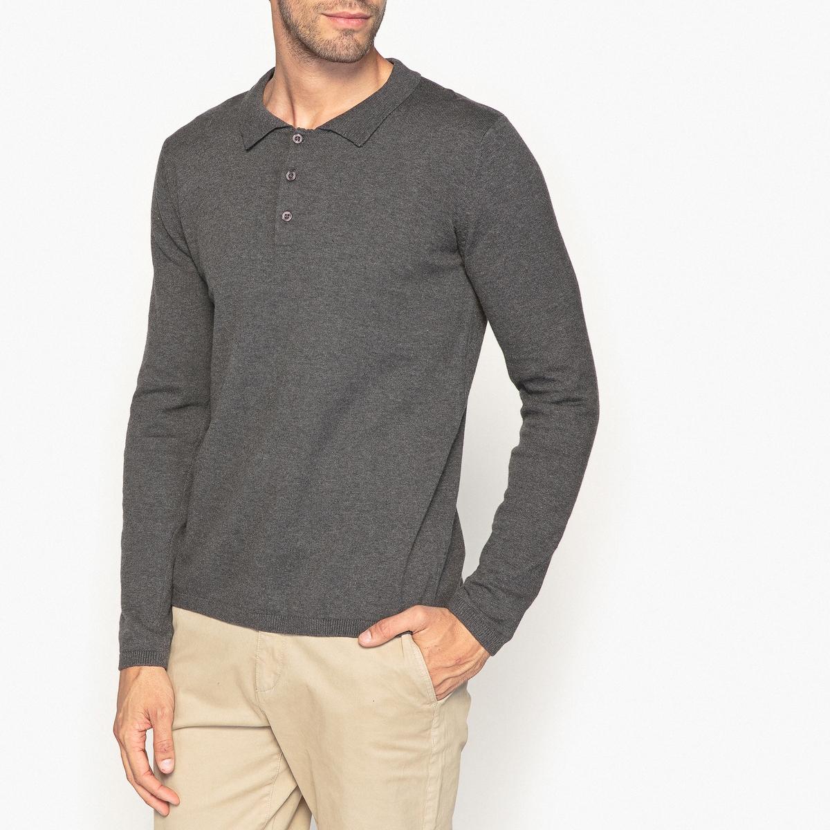 Пуловер с воротником-поло из 100% хлопка