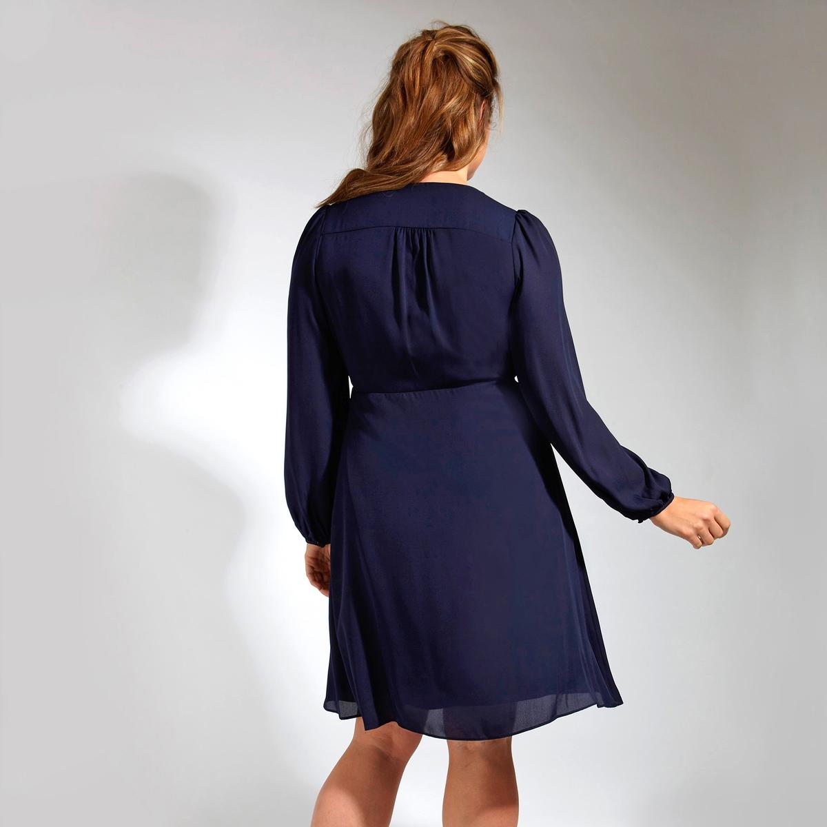 ПлатьеПлатье LOVEDROBE. Платье с длинными рукавами с красивым декольте . Эффект запаха с завязками сбоку . 100% полиэстер<br><br>Цвет: синий<br>Размер: 58/60 (FR) - 64/66 (RUS)