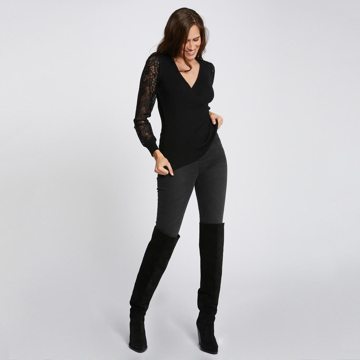 Пуловер La Redoute С V-образным вырезом и длинными рукавами из кружева S черный футболка la redoute с длинными рукавами и v образным вырезом из кружева s черный