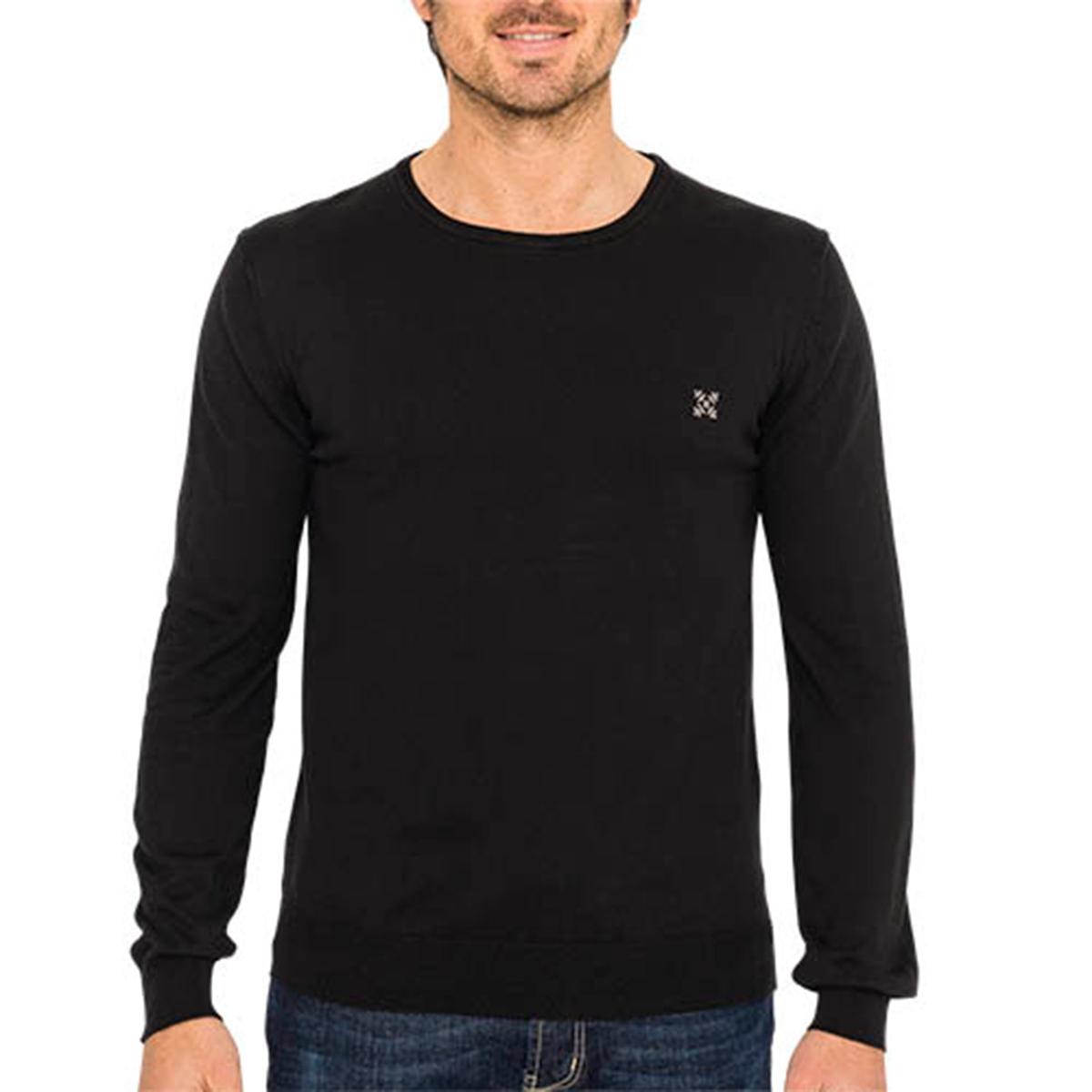 Пуловер с круглым вырезом, из тонкого трикотажаОписание:Детали •  Длинные рукава •  Круглый вырез •  Тонкий трикотаж Состав и уход •  100% хлопок •  Следуйте советам по уходу, указанным на этикетке<br><br>Цвет: черный<br>Размер: XL