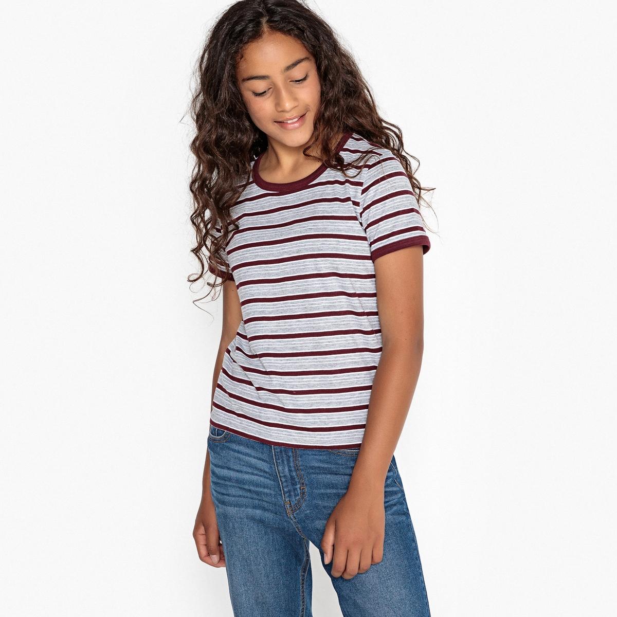 T-shirt de mangas curtas às riscas 10-16 anos