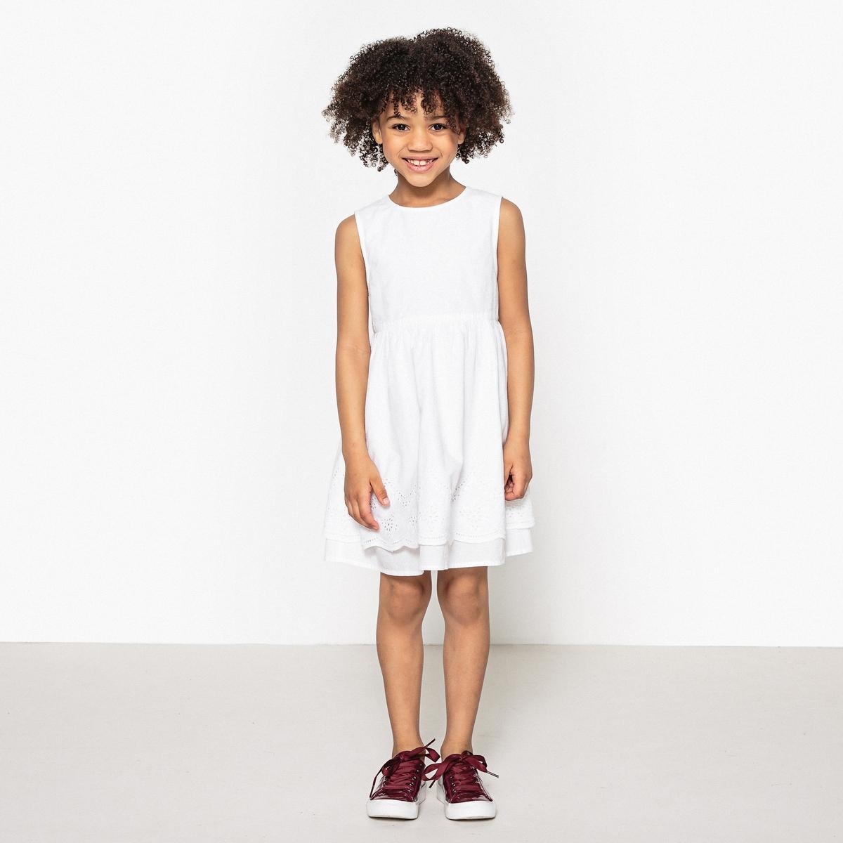 Платье с английским шитьем снизу 3-12 лет юбка длинная с английским шитьем