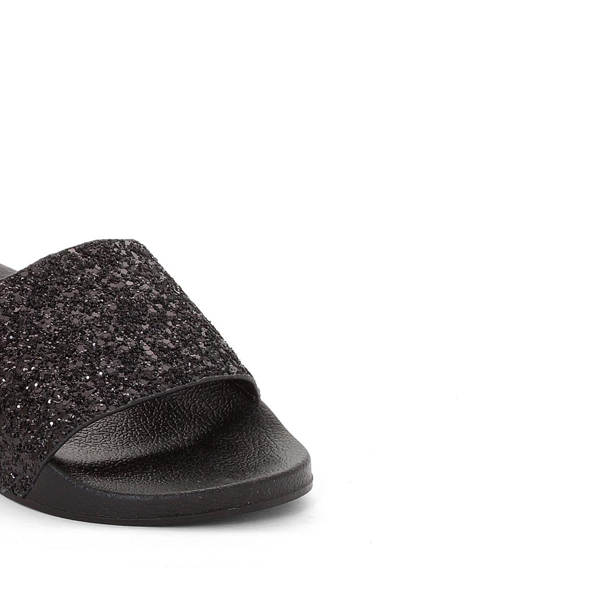 Туфли без задника блестящие WaikikiВерх/Голенище : Синтетический материал с блесткамиПодкладка : синтетика  Стелька : синтетика  Подошва : синтетика   Форма каблука : плоский каблук  Мысок : закругленный.  Застежка : без застежки<br><br>Цвет: черный