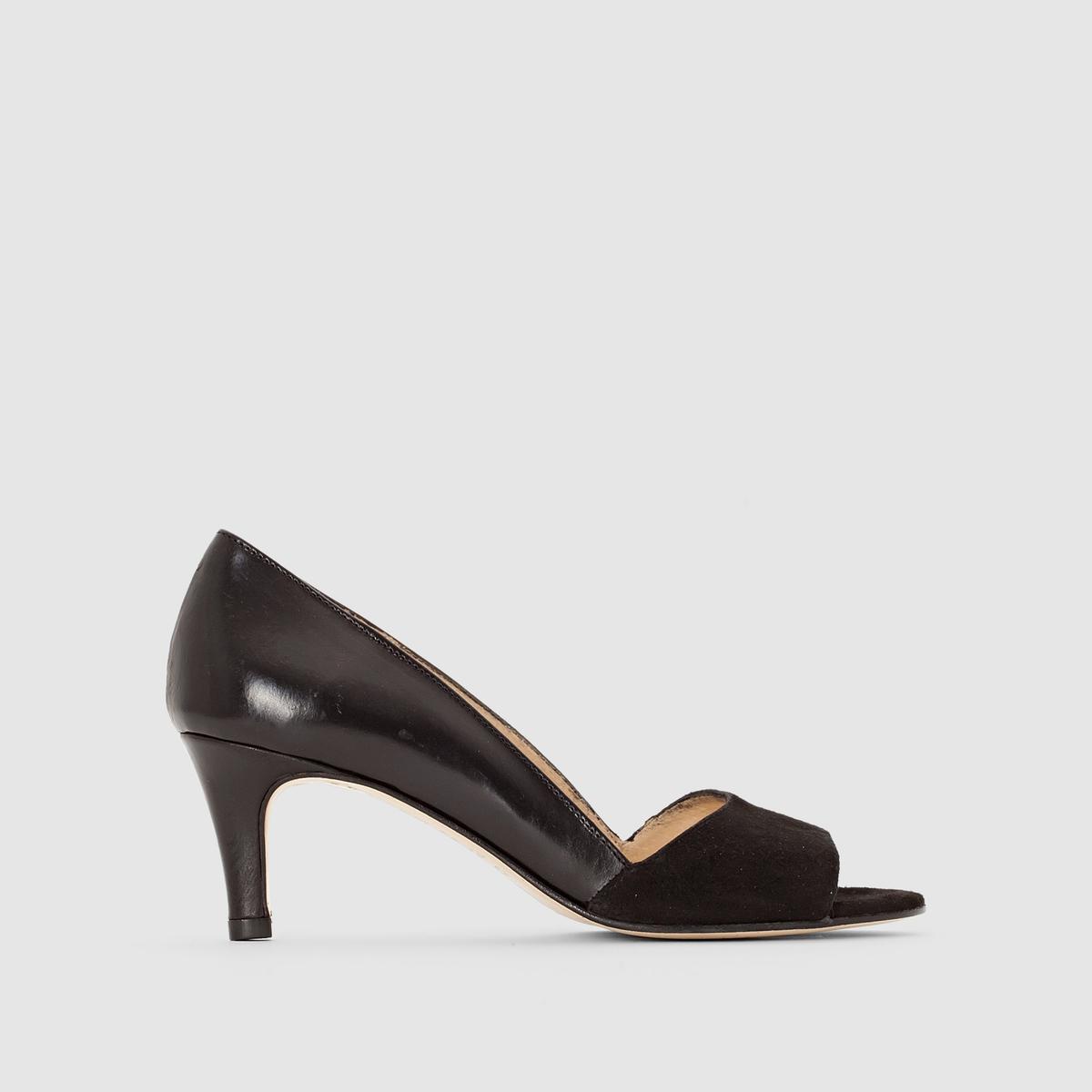Туфли из двух материалов на каблукеПреимущества  : туфли на каблуке JONAK из двух материалов: блестящего и под замшу, элегантная и очень женственная форма.<br><br>Цвет: черный<br>Размер: 38