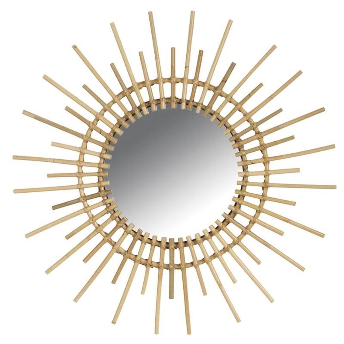 Miroir rotin vintage soleil