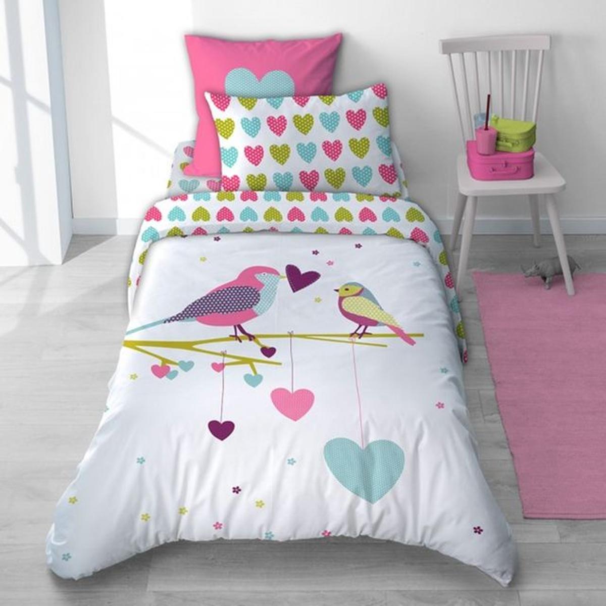 Parure de lit oiseau et coeur rose en coton pour fille - Printemps