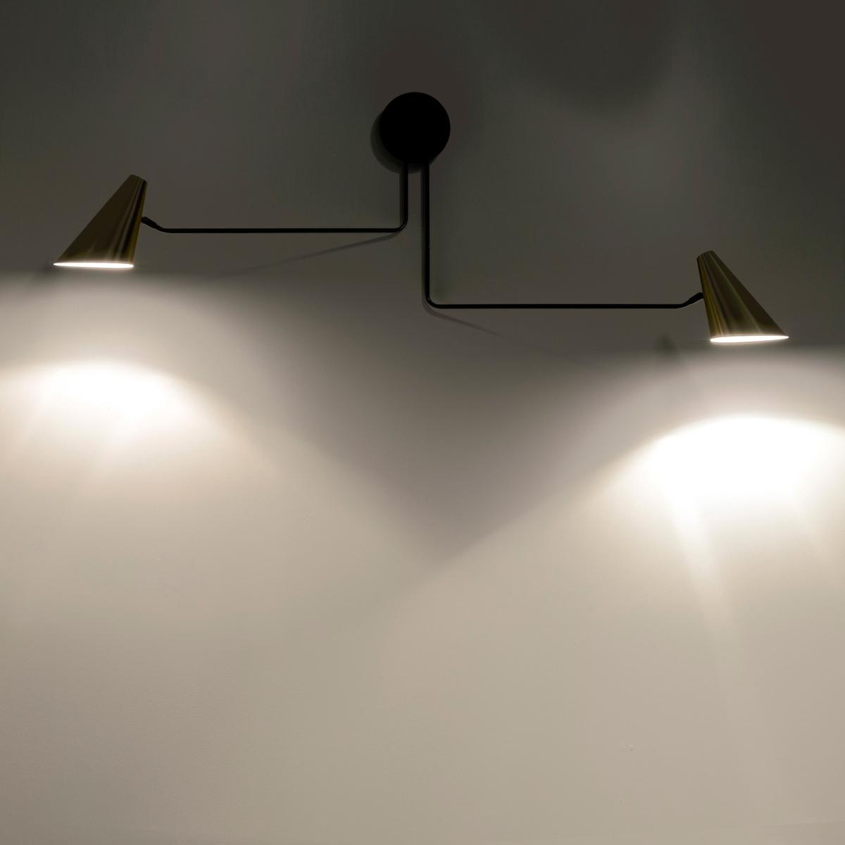 Светильник двойной, Bar?aСветильник двойной с регулируемой лапкой .Характеристики :- Каркас из сали.- Абажур из латуни.- Патрон E27.-  Лампочка макс 40 Вт, не входит в комплект . - Этот светильник совместим с лампочками    энергетического класса   ABCDE .Размеры :- Дл.152,5 x Выс.39,7 x Гл.14,1 см .<br><br>Цвет: латунь<br>Размер: единый размер
